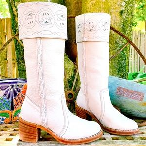 FRYE Vintage White Tall Cuff Inlay Western Boots 7